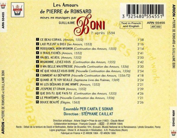Boni - Les Amours de Pierre de Ronsard