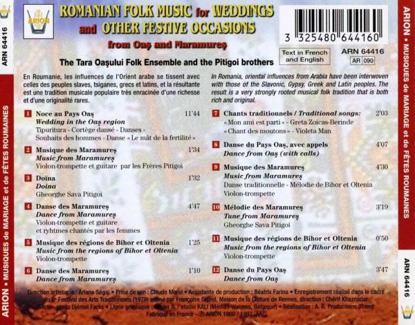 Musiques de Mariage & de fêtes roumaines des pays d'Oas et des Maramures