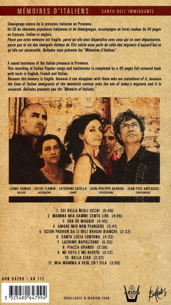 Mémoires d'Italiens - Canto dell'immigrante