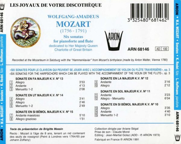 Mozart - Six Sonates pour Pianoforte & Flûte