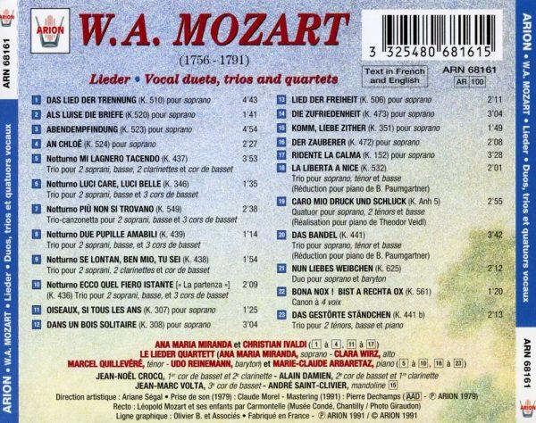 Mozart - Lieder - Duos, Trios & Quatuors Vocaux