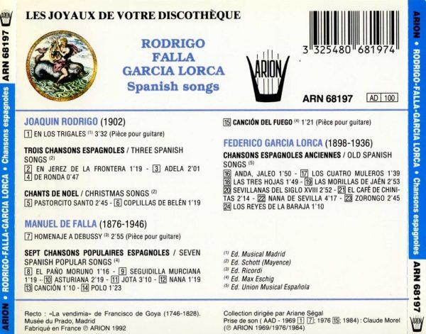 Chansons Espagnoles - Rodriguo, Falla, Garcia...