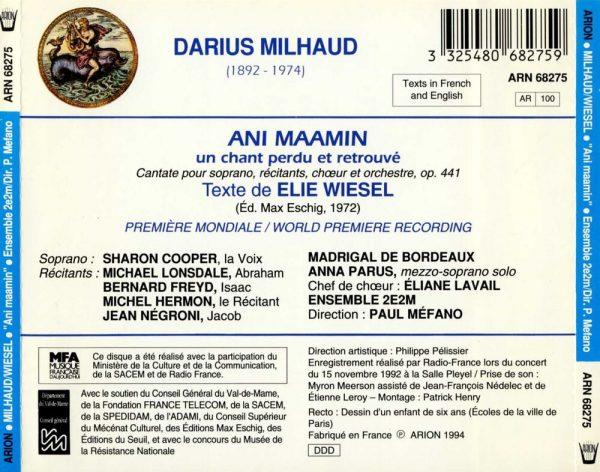 Milhaud - Ani Maamin - Un Chant perdu et retrouvé