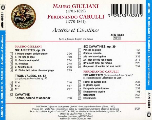 Giuliani / Carulli - Ariettes et Cavatines