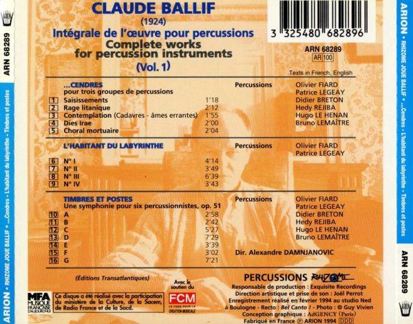 Ballif - Intégrale de l'Œuvre pour percussions Vol.1
