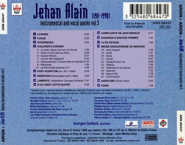 Jehan Alain - Œuvres Instrumentales & Vocales Vol.3