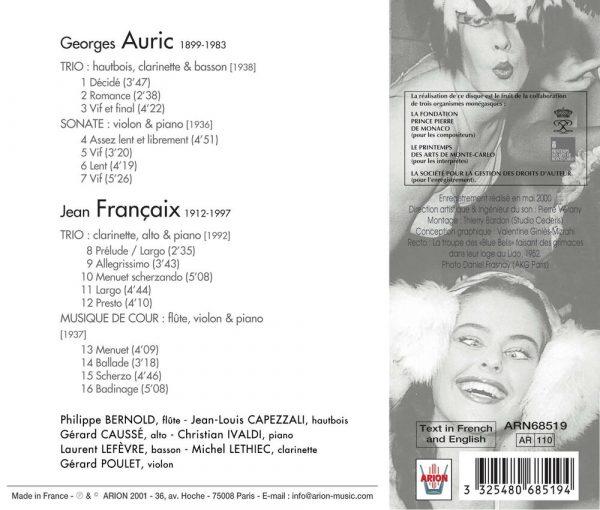 Auric / Francaix - Musique de Chambre