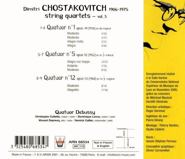 Chostakovitch - Quatuors à cordes N°1, 5 & 12 - Vol.3