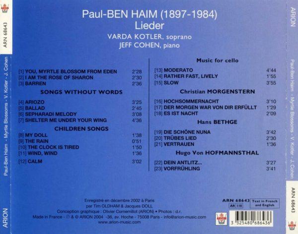 Ben Haim - Lieder & Mélodies
