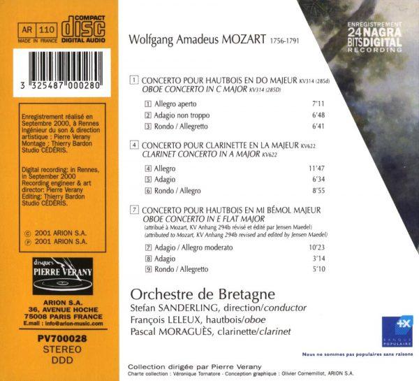 Mozart - Concertos pour hautbois & pour clarinette