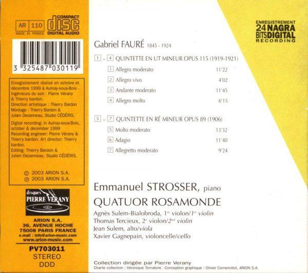 Fauré - Quintettes pour piano & cordes