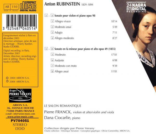 Rubinstein - Sonates pour alto Op. 49 et pour violon Op. 98