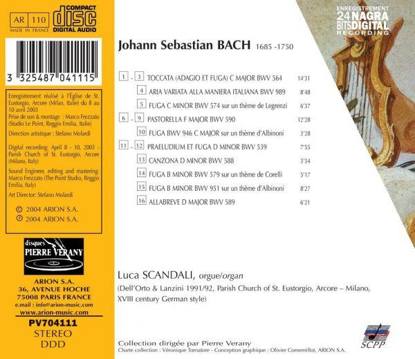 Bach J.S. - Alla Maniera Italiana - Pièces pour orgue