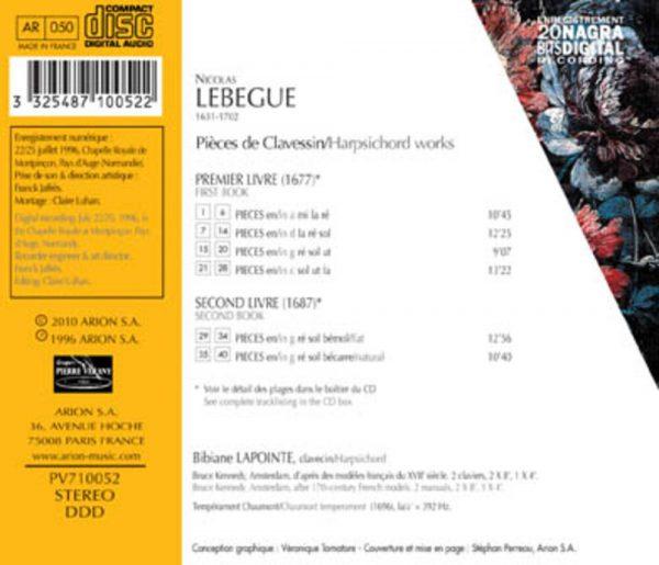 Lebègue - Pièces de clavessin