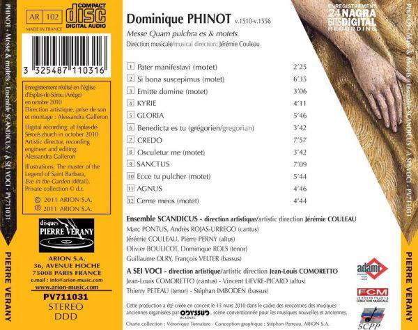 Phinot - Messe Quam Pulchra es & Motets