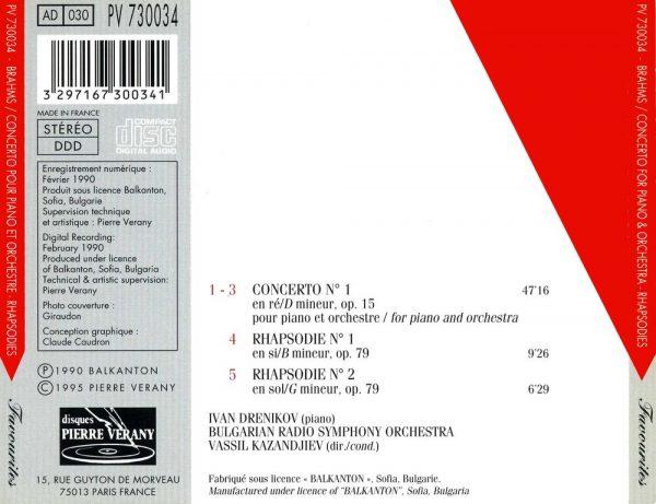 Brahms - Concerto N°1, Op. 15 pour piano & orchestre - Rhapsodies, Op. 79