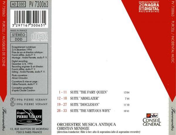Purcell - Musiques de scène - Suites d'orchestre