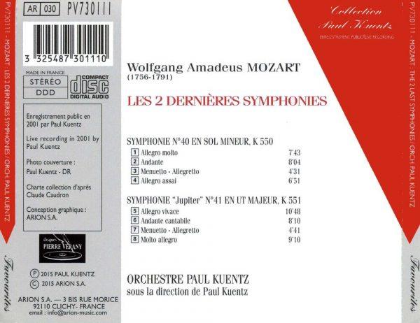 Mozart - Symphonies N°40 KV 550 et N°41 KV 551