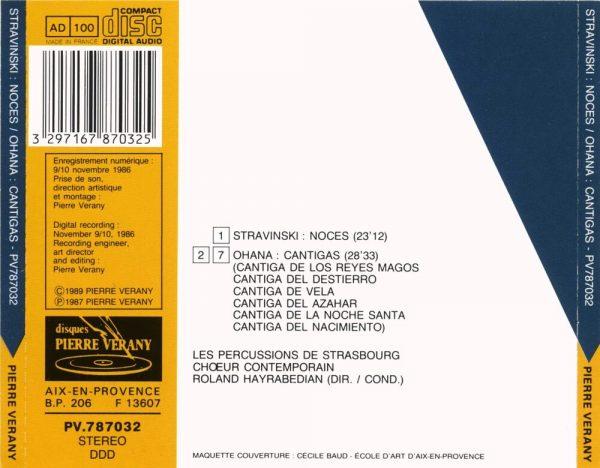 Stravinski / Ohana - Noces / Cantigas