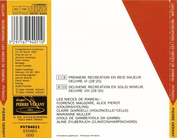 Leclair - Récréations de musique pour 2 violons & B.c.