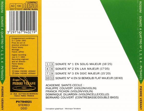 Rossini - Sonate a quattro N°1, 2, 3 & 4 pour 2 violons, violoncelle & contrebasse