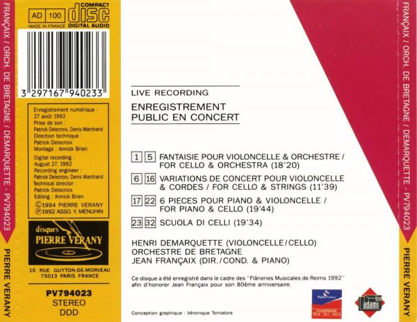 Françaix - Fantaisie pour violoncelle