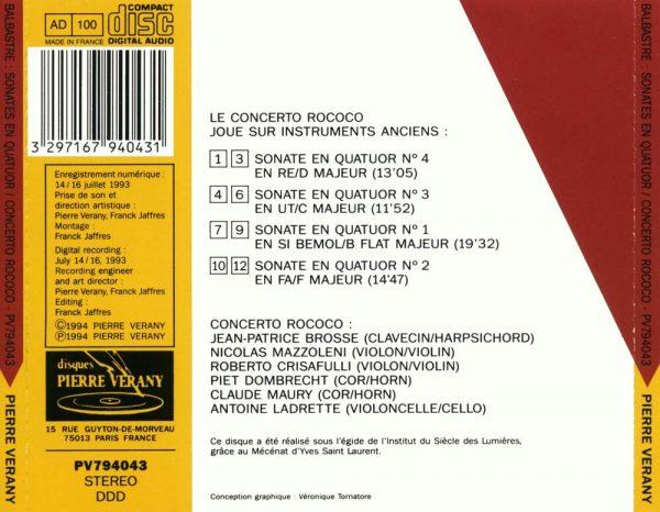 Balbastre - Quatre sonates pour clavecin, 2 violons, 2 cors & basse