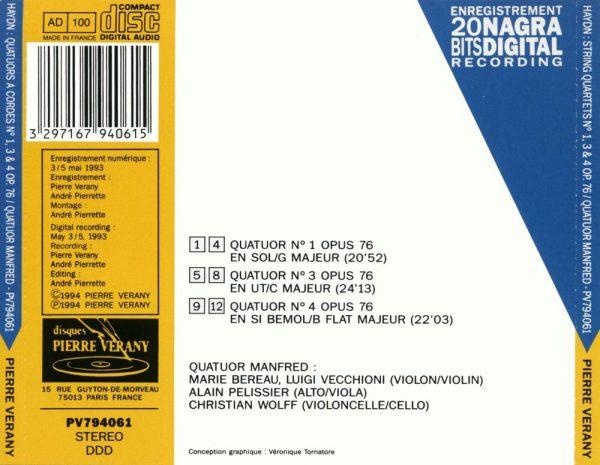 Haydn - Quatuors à cordes N°1, 3 & 4 Op.76