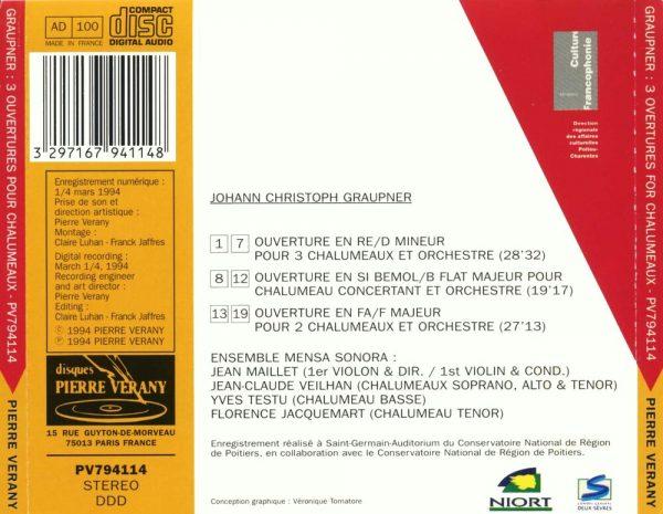 Graupner - Trois ouvertures pour chalumeaux & orchestre