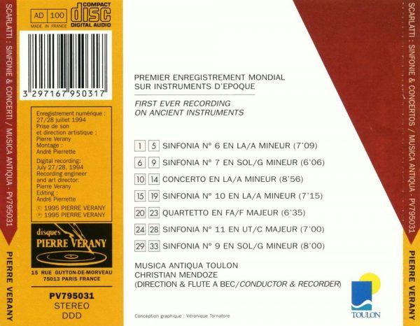 Scarlatti - Sinfonie di concerti grosso - Concerti per flauto dolce