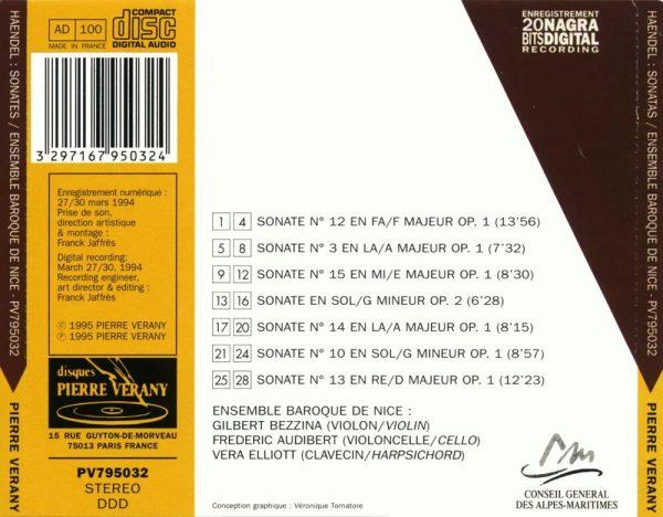 Haëndel - Intégrale des Sonates pour Violon Op. 1