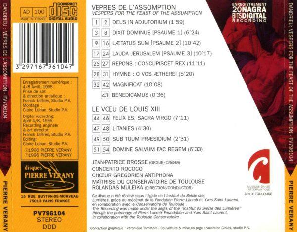 Dandrieu - Vêpres de l'Assomption - Le Voeu de Louis XIII