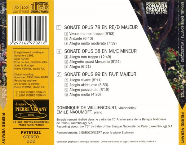 Brahms - 3 sonates pour cello & piano