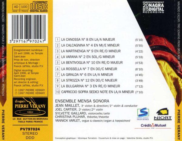 Cazzati - Sonates pour 2 Violons & Continuo, Op. 18