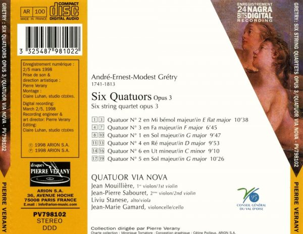 Gretry - Six quatuors, Op. 3