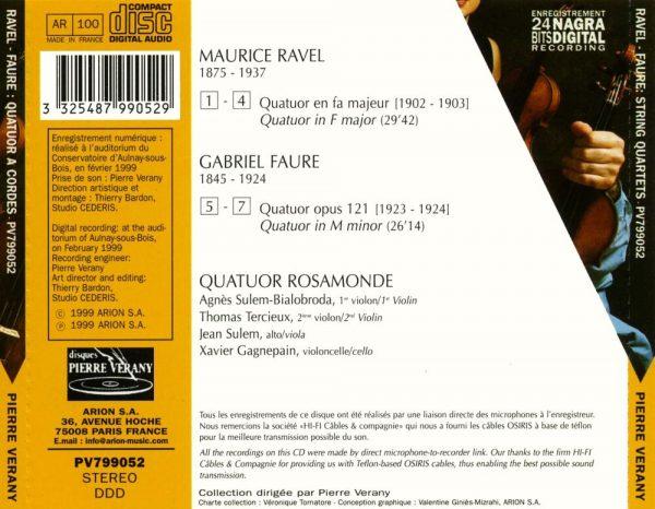 Ravel/Fauré - Quatuors à cordes