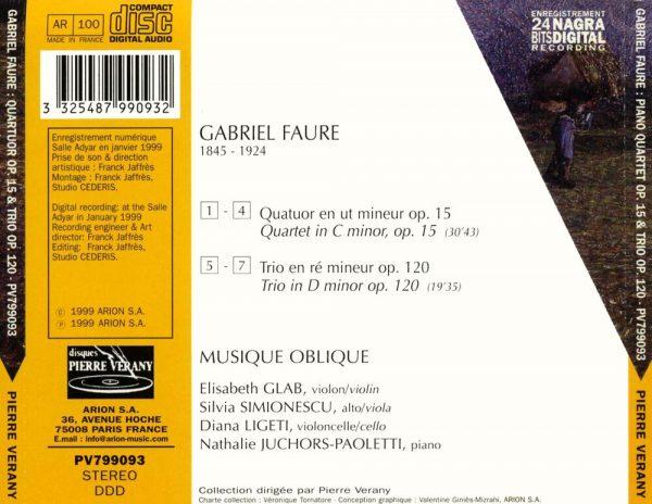 Fauré - Quatuor en ut min. Op. 15 & Trio en ré min. Op. 120