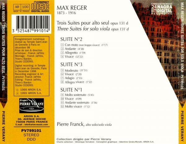 Reger - Trois suites pour alto seul, Op. 131 D